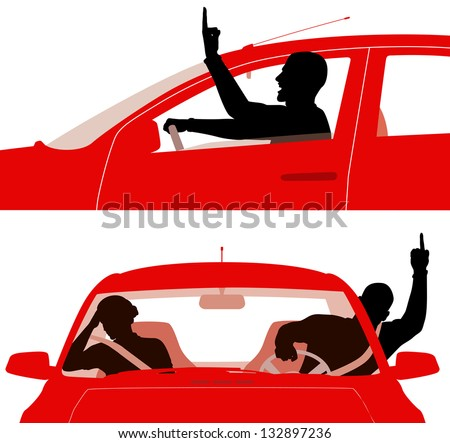 Two editable vector illustrations of an angry man in a red car rudely gesturing whilst driving - middle fingers are separate objects easily removed to leave a fist - stock vector