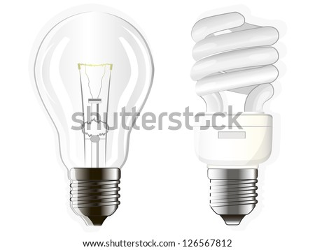 two electric bulbs, incandescent, fluorescent and energy-saving - stock vector