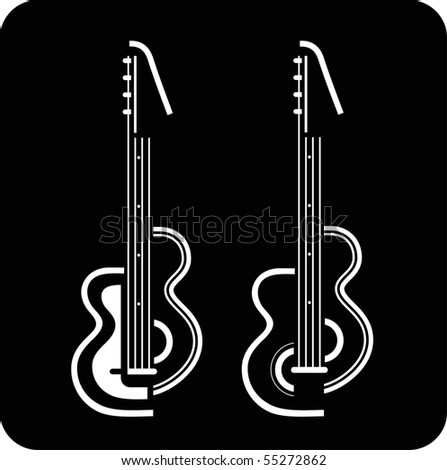 Two electric guitars on black background. Vector illustration. Can be used as emblem for your company. - stock vector