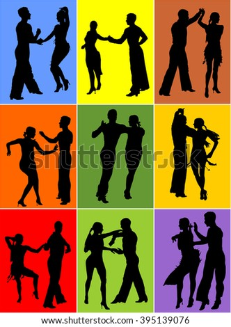 Two elegance tango dancers collections, vector silhouette. Isolated over background. Dancing styles, Partner dance waltz, performer tango, woman and man. Vector illustration. - stock vector