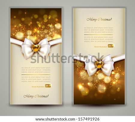 Two elegant Christmas greeting cards with bow and jewelry. - stock vector