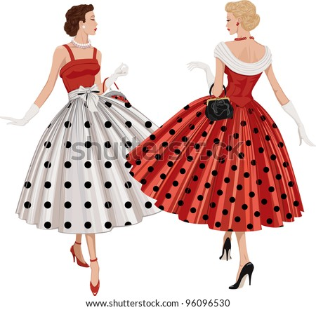 Two elegant women the brunette and the blonde dressed in polka dots garments inspect each other passing by - stock vector