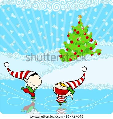 Two elves enjoying ice skating - stock vector
