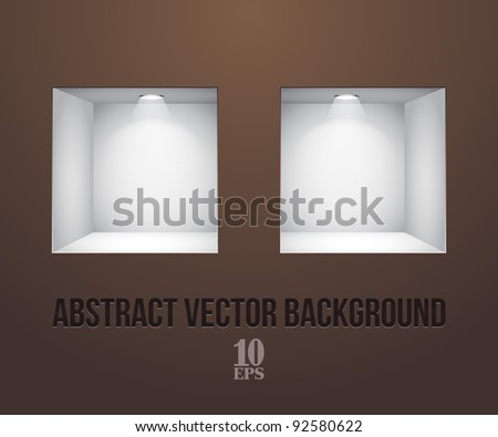 Two Empty Shelves For Exhibit In The Wall Brown - stock vector