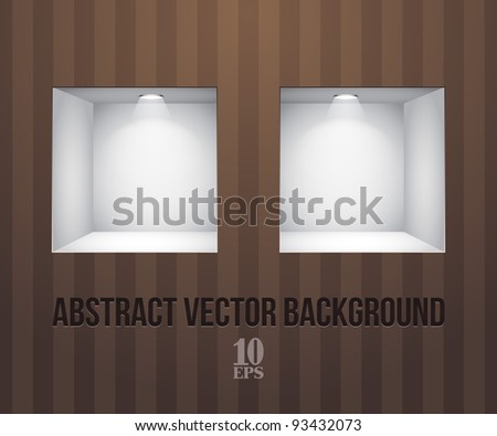 Two Empty Shelves For Exhibit In The Wall Green On Striped Brown Wall - stock vector