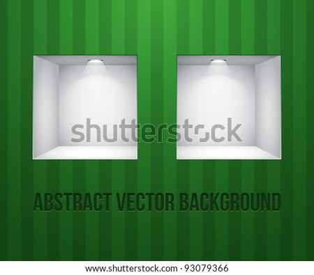Two Empty Shelves For Exhibit In The Wall Green On Striped Green Wall - stock vector