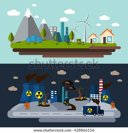 Two environmental pollution banner set with description the use of windmills and the impact on the nature of polluting enterprises vector illustration - stock vector