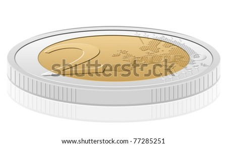 Two euro coin isolated on a white background. Vector illustration. - stock vector