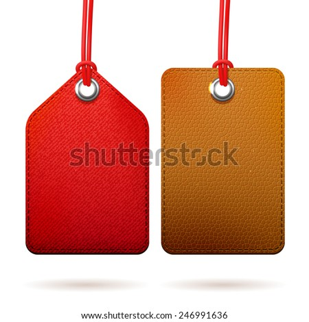 Two fabric red and brown leather textured tags, set of isolated vector design objects - stock vector