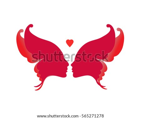 Two Faces Composed Into Shape Of Butterfly