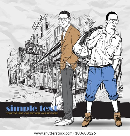 Two fashion boys  in sketch-style on a street-cafe-background. Vector illustration. - stock vector