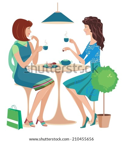 Two fashion girls chatting at a cafe. Vector - stock vector