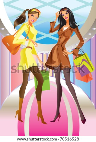 two fashion shopping girl with  bag in mall - vector illustration - stock vector