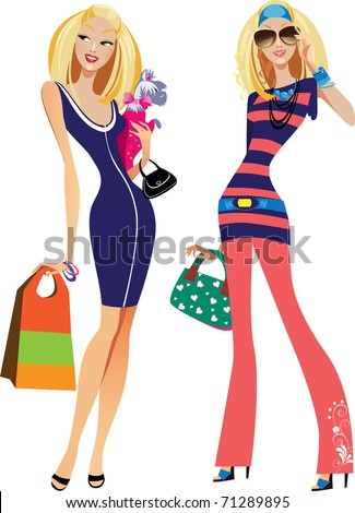 two fashion women - stock vector
