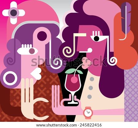 Two fashionable women drinking a cocktail. Modern fine art vector illustration. - stock vector