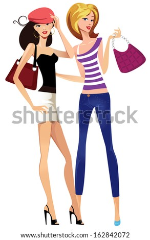 Two fashionable young girls - stock vector