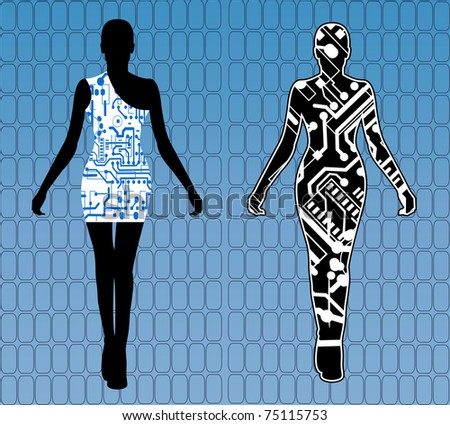 Two female robots - stock vector