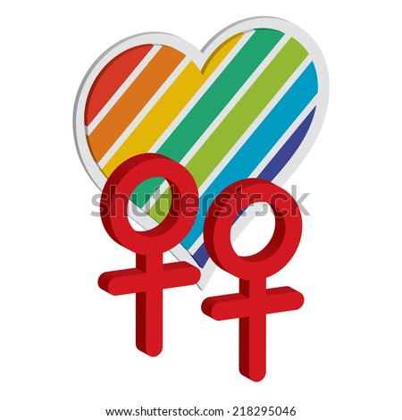two female symbols with rainbow heart - stock vector