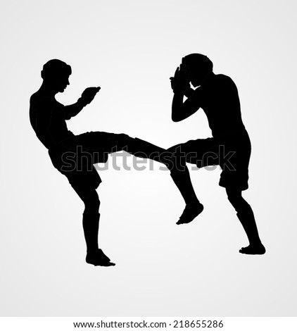 Two fighters in ring vector silhouette illustration.Fight Fighter Muay Thai Boxing Karate Taekwondo Wrestling Kick Punch Grab Throw People Icon Sign Symbol Pictogram In octagon. - stock vector