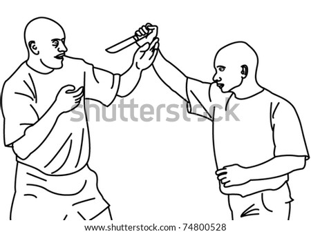 Two fighters with a knife - stock vector
