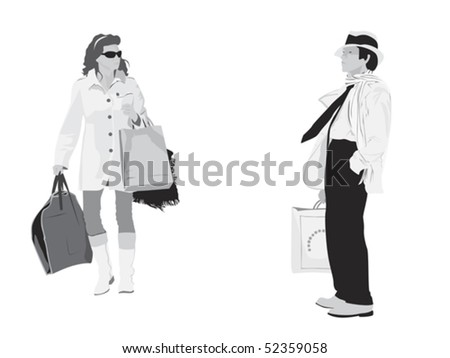 two figures holding shopping bags - stock vector