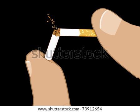 Two fingers crush a cigarette until it breaks in half. - stock vector