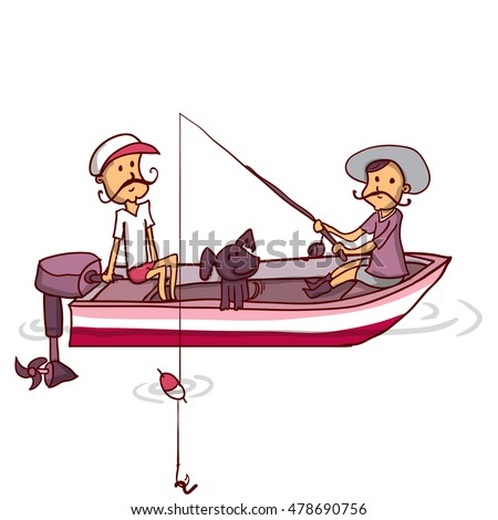 Two fishermen in a boat on the river. Hand drawn cartoon vector illustration.