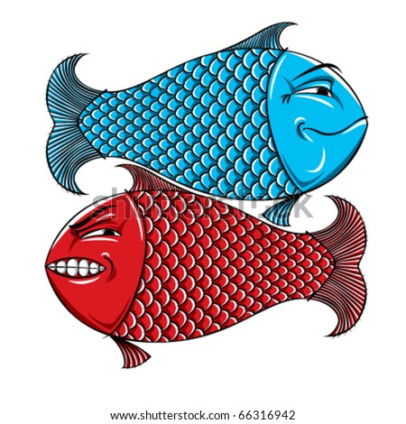 Two fishes. Emotions, characters, happy and angry. Yin yang.