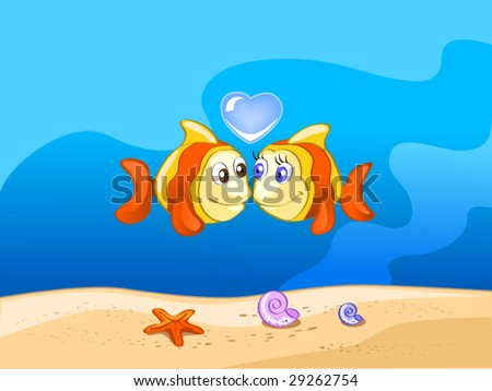 two fishes in love (editable layers) - stock vector
