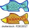 two fishes pattern over white background - stock vector
