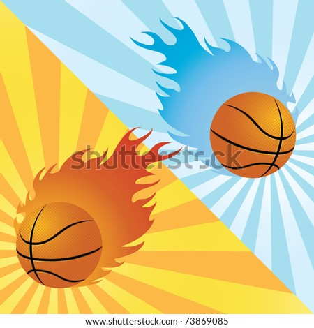 Two flaming basket balls over different backgrounds - stock vector