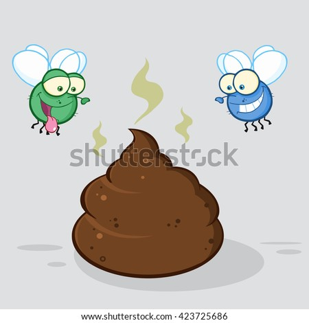 Two Flies Hovering Over Pile Of Smelly Poop Cartoon Characters. Vector Illustration With Background - stock vector