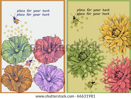two floral cards with colorful fantasy flowers and bugs - stock vector