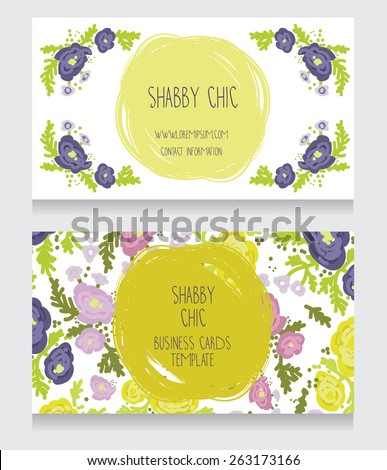 two floral colorful cards, can be used as business cards for country shop or as badge for wedding seremony, vector illustration - stock vector