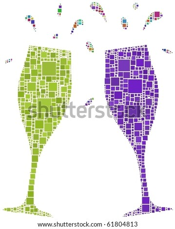 Two flutes for a cheers. A number of 1106 squares have been inserted in the mosaic. - stock vector