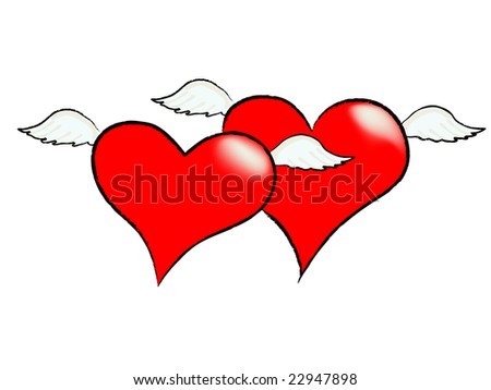 two flying hearts with wings - stock vector