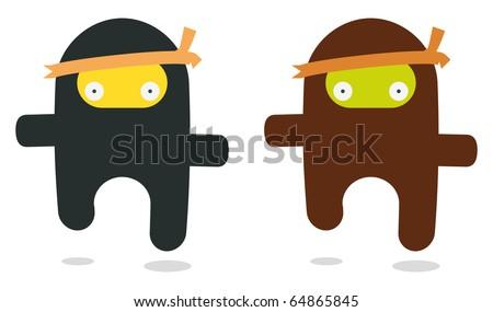 two flying ninjas like kawaii style - stock vector