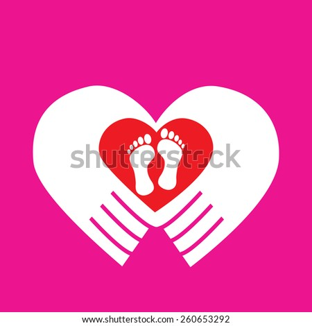 two foot : feet in red heart hands on pink background : logo vector - stock vector