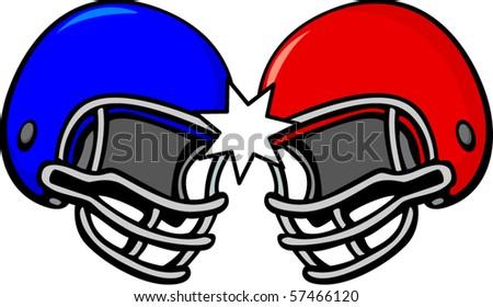 two football helmets - stock vector