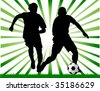 Two football players attack gate of the opponent; - stock vector