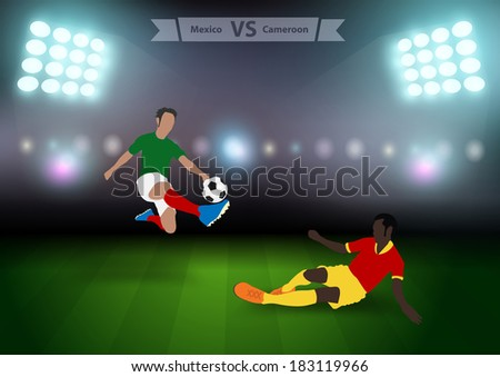 Two football players in jump to strike the ball at the stadium, Soccer players mexico versus cameroon, Brazil 2014 group A Vector illustration modern design template  - stock vector
