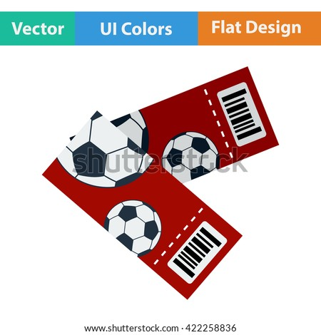 Two football tickets icon. Flat design in ui colors. Vector illustration. - stock vector