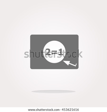 Two for one sign icon. Take two pay for one sale web button. 2 equals 1 . Vector illustration. Vector Icon - stock vector