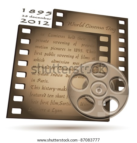 Two frames of film with an inscription on a white background. - stock vector