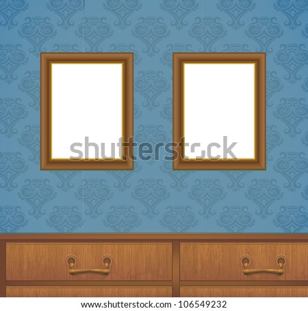 Two Frames On Wall Ornamental Wallpaper Stock Vector 106549232 ...