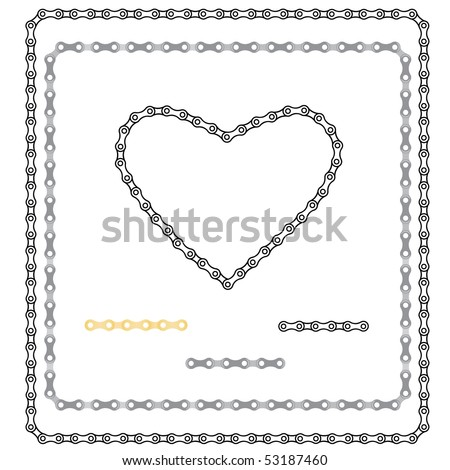 two frameworks and heart from a bicycle chain - stock vector
