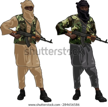 Two Freedom Fighters with Sub Machine Guns, Illustration Isolated on White Background, EPS 10 Vector - stock vector