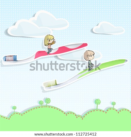 Two friends flying in toothbrush over a beautiful landscape. Vector background design. - stock vector
