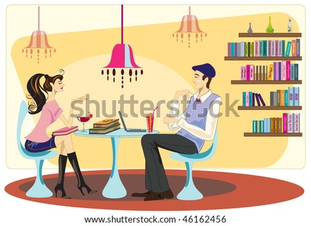 two friends have a good time in cafe - stock vector