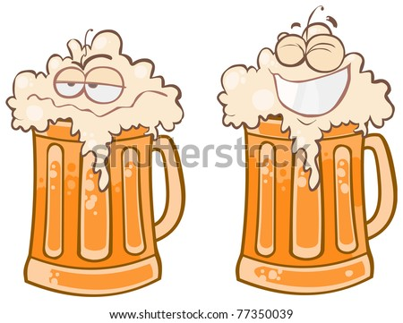 Two funny pint of beer. - stock vector